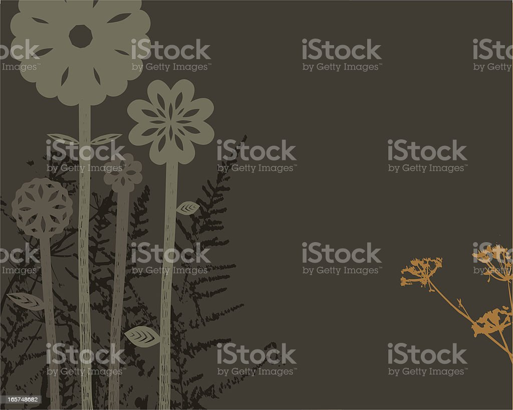 Decorative plants and flowers on dark background vector art illustration