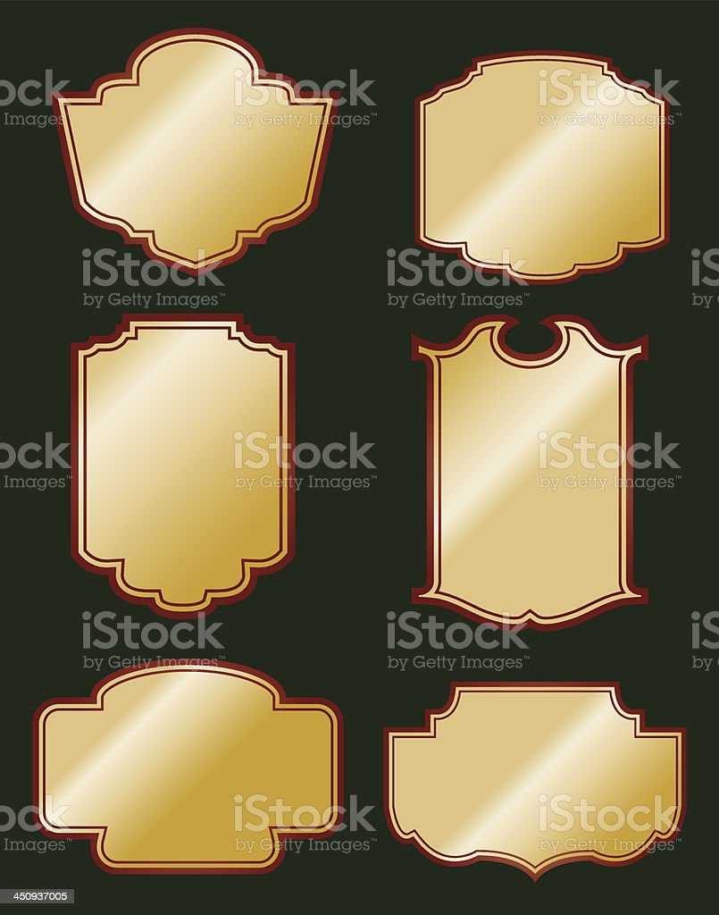 Decorative plaques and signs vector art illustration