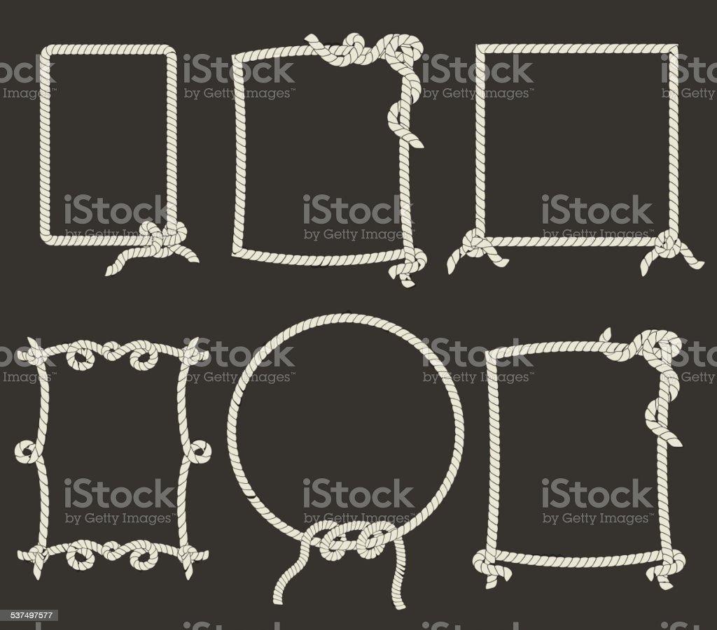 Decorative rope frames on black background vector art illustration