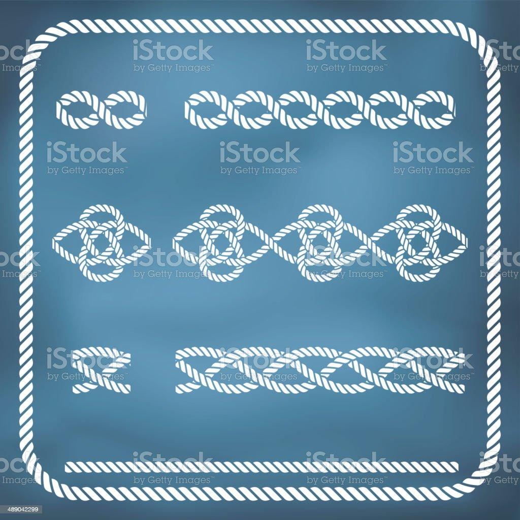 Decorative rope knots vector art illustration