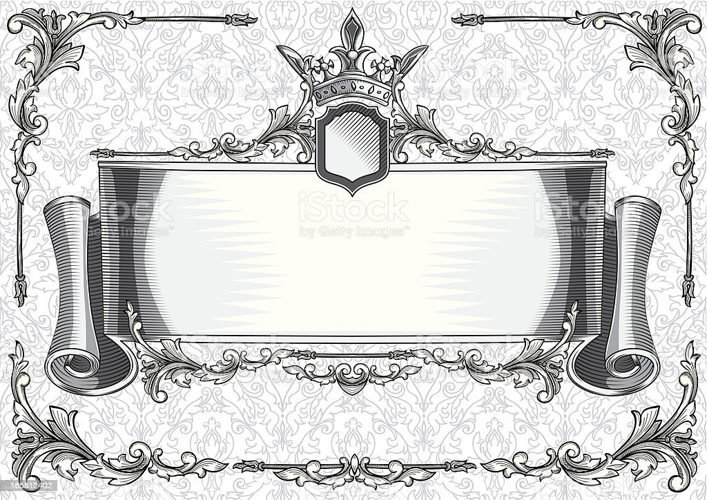 Decorative scroll vector art illustration