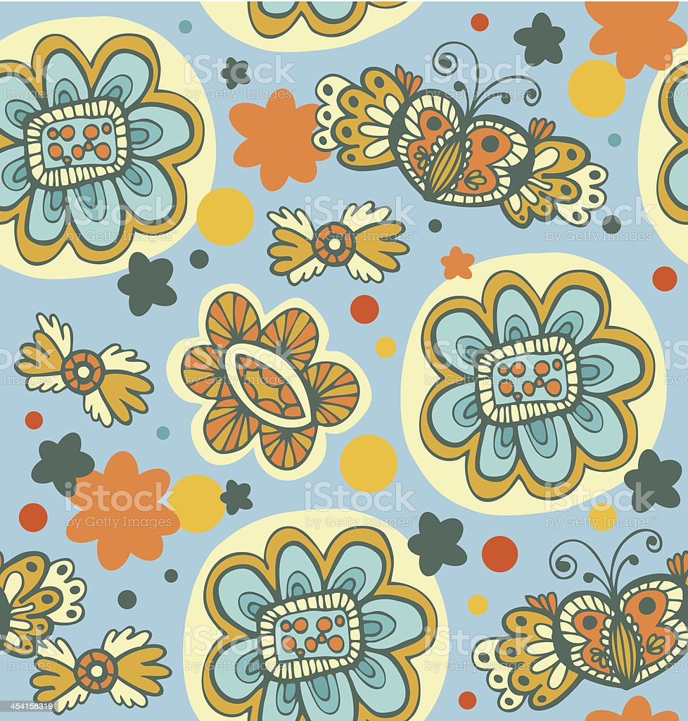 Decorative seamless floral pattern royalty-free stock vector art