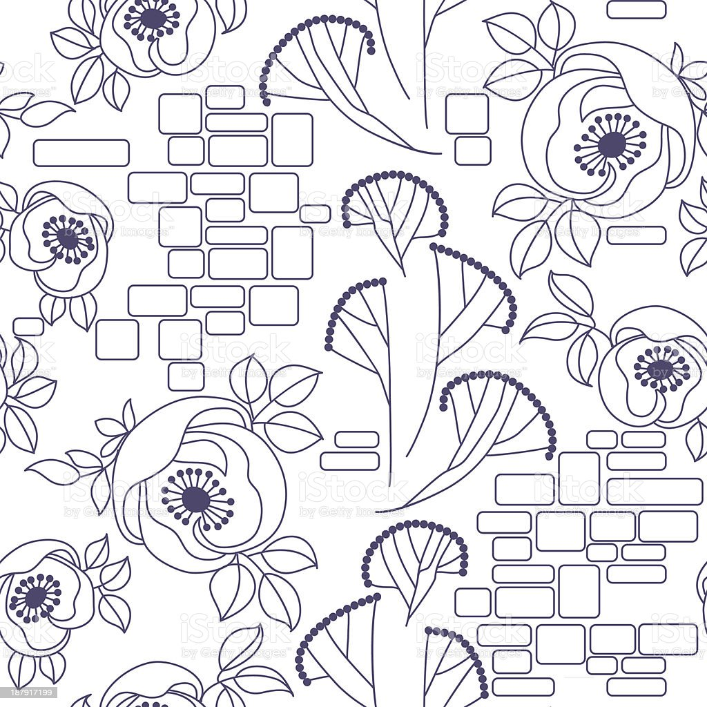 Padrão sem costura decorativa com rosas vetor e ilustração royalty-free royalty-free