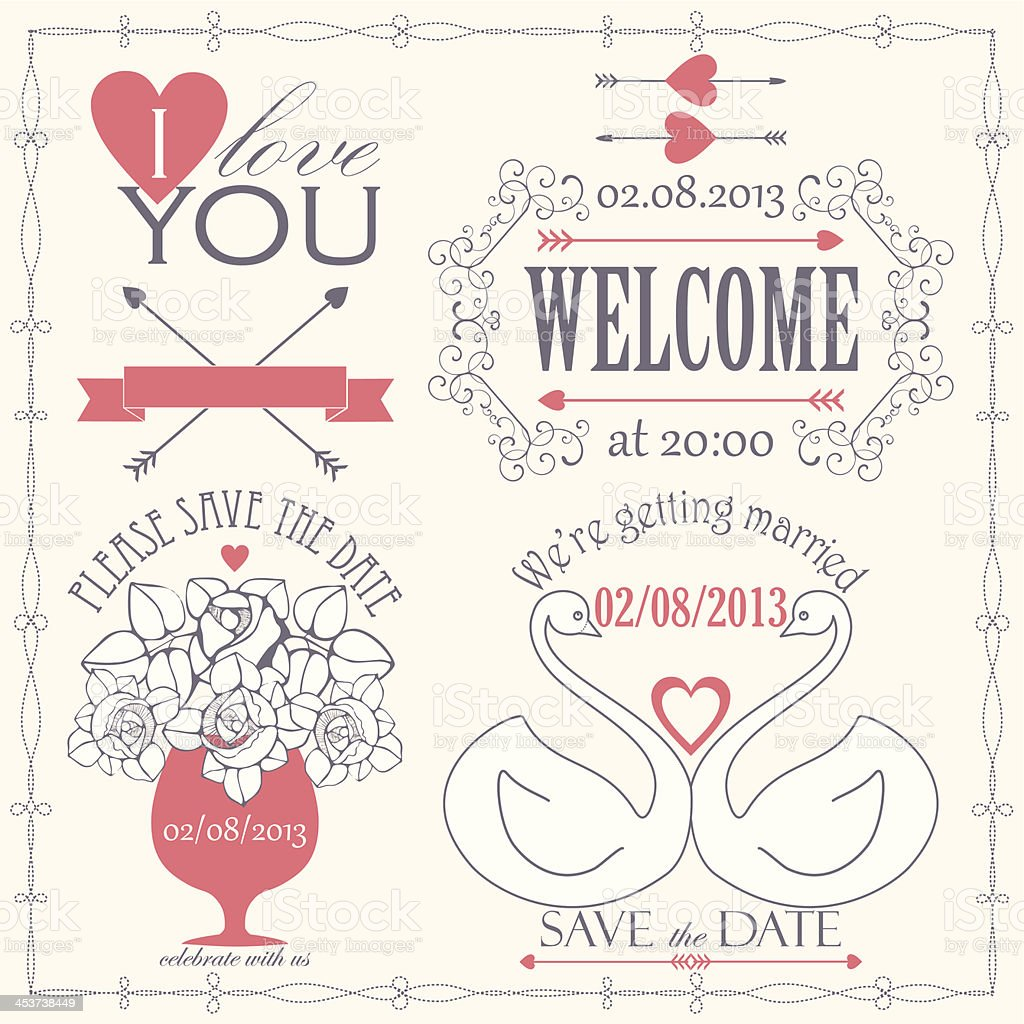 Decorative set of artistic wedding elements and signs royalty-free stock vector art
