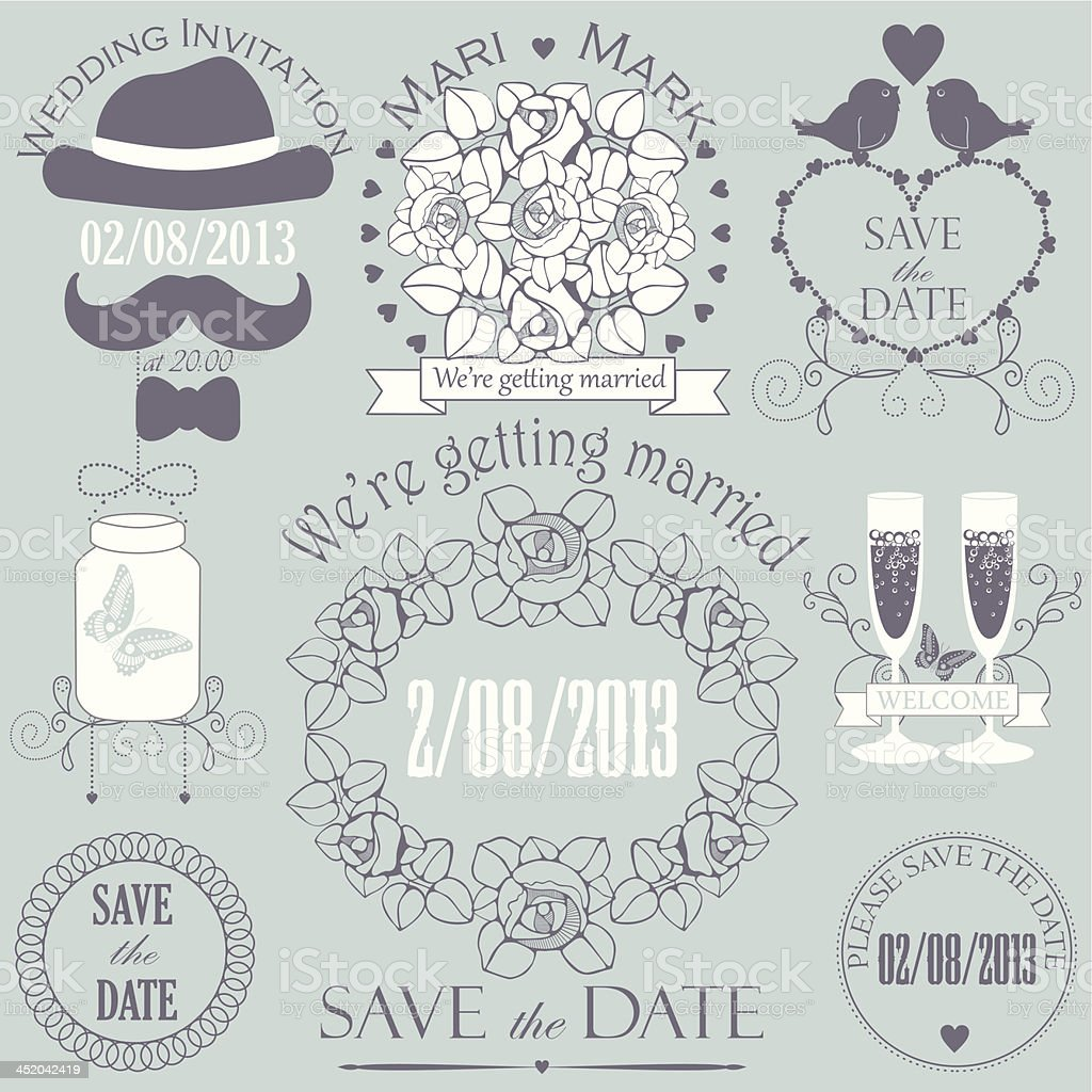 Decorative set of artistic wedding elements in grey colors. royalty-free stock vector art