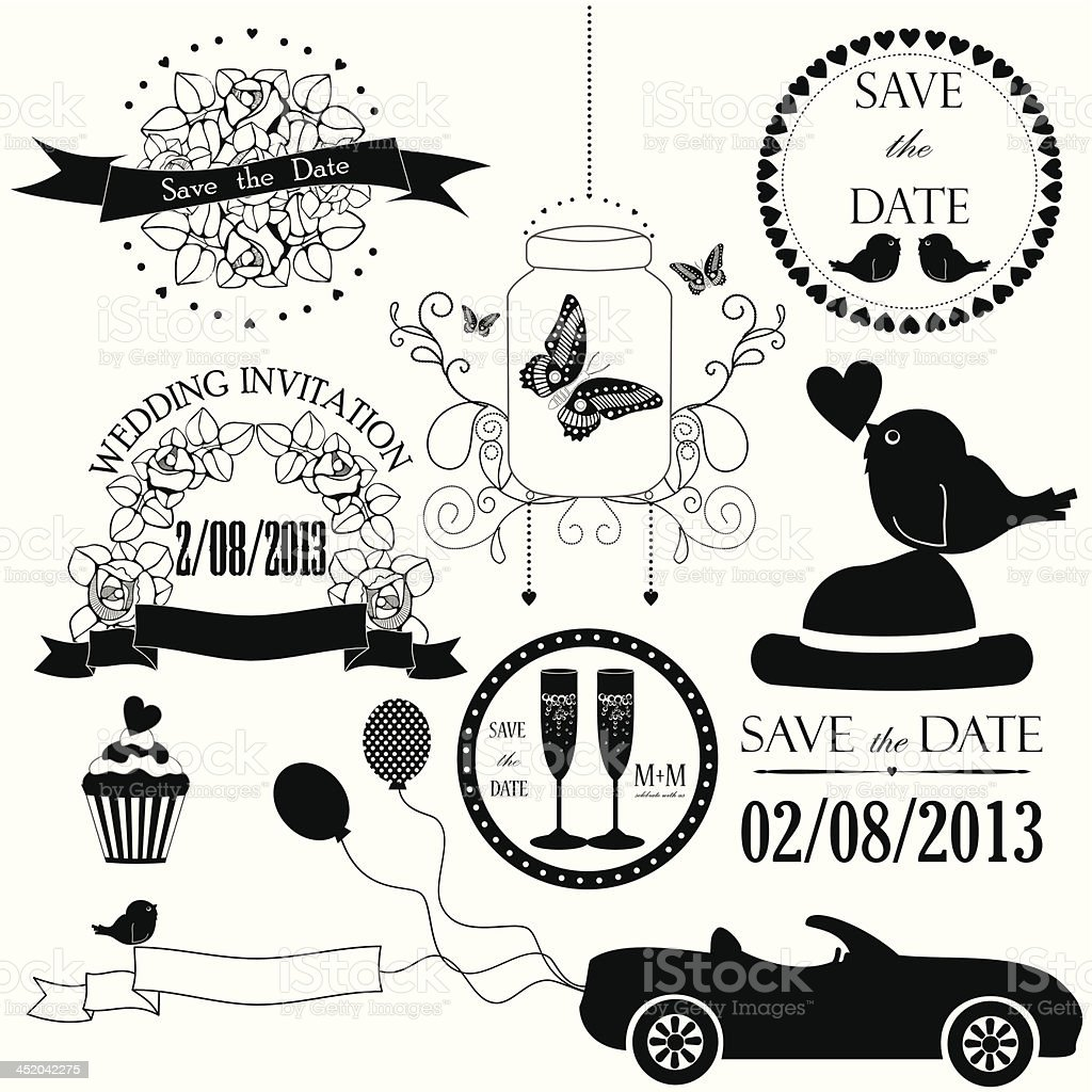 Decorative set of artistic wedding elements royalty-free stock vector art