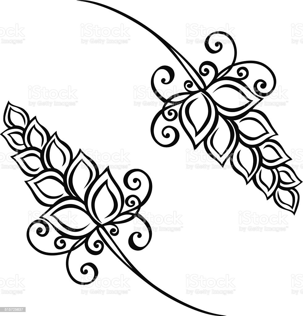 Decorative Spikelets vector art illustration