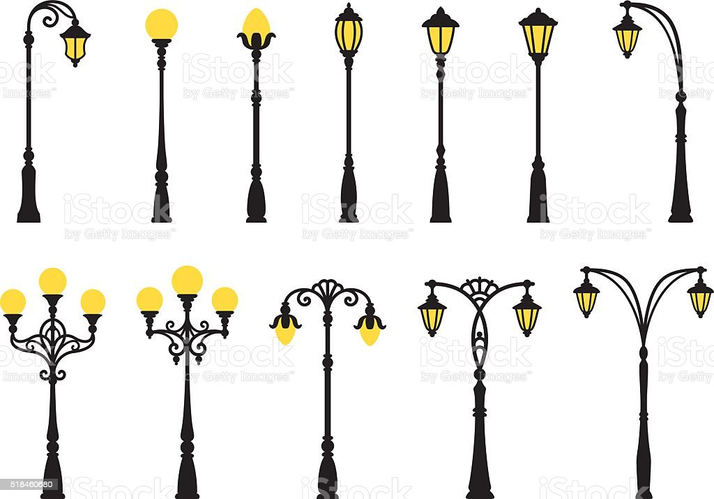 Decorative streetlights vector art illustration