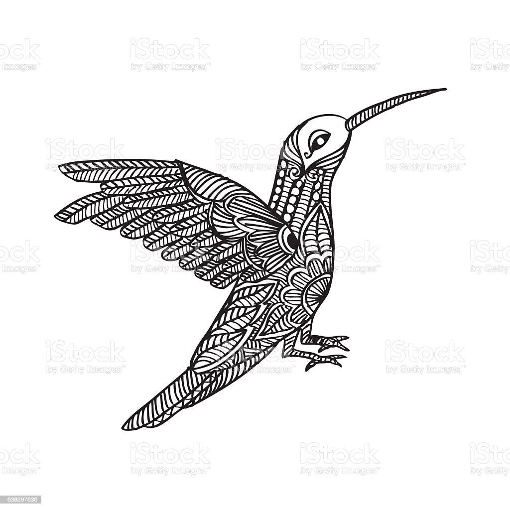 Decorative stylized black Hummingbird. vector art illustration