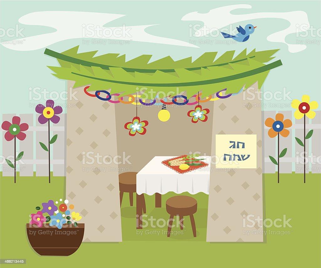 Decorative Sukkah vector art illustration