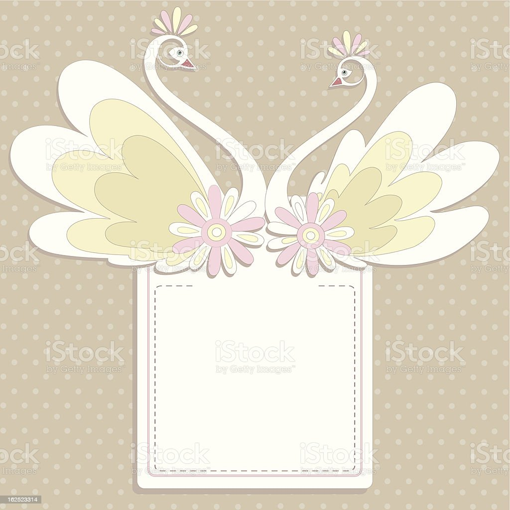 Decorative swans and flowers royalty-free stock vector art