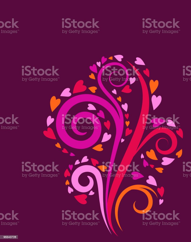 decorative swirl tree with a hearts royalty-free stock vector art