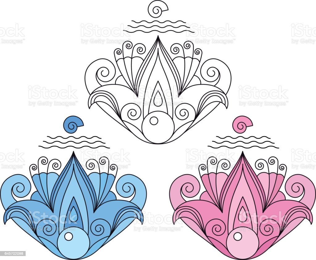 Decorative symmetrical abstract lotus flower with shell and pearl. vector art illustration