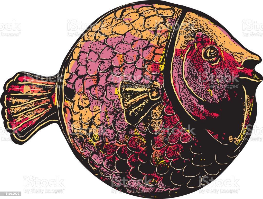 Decorative textured fish vector art illustration