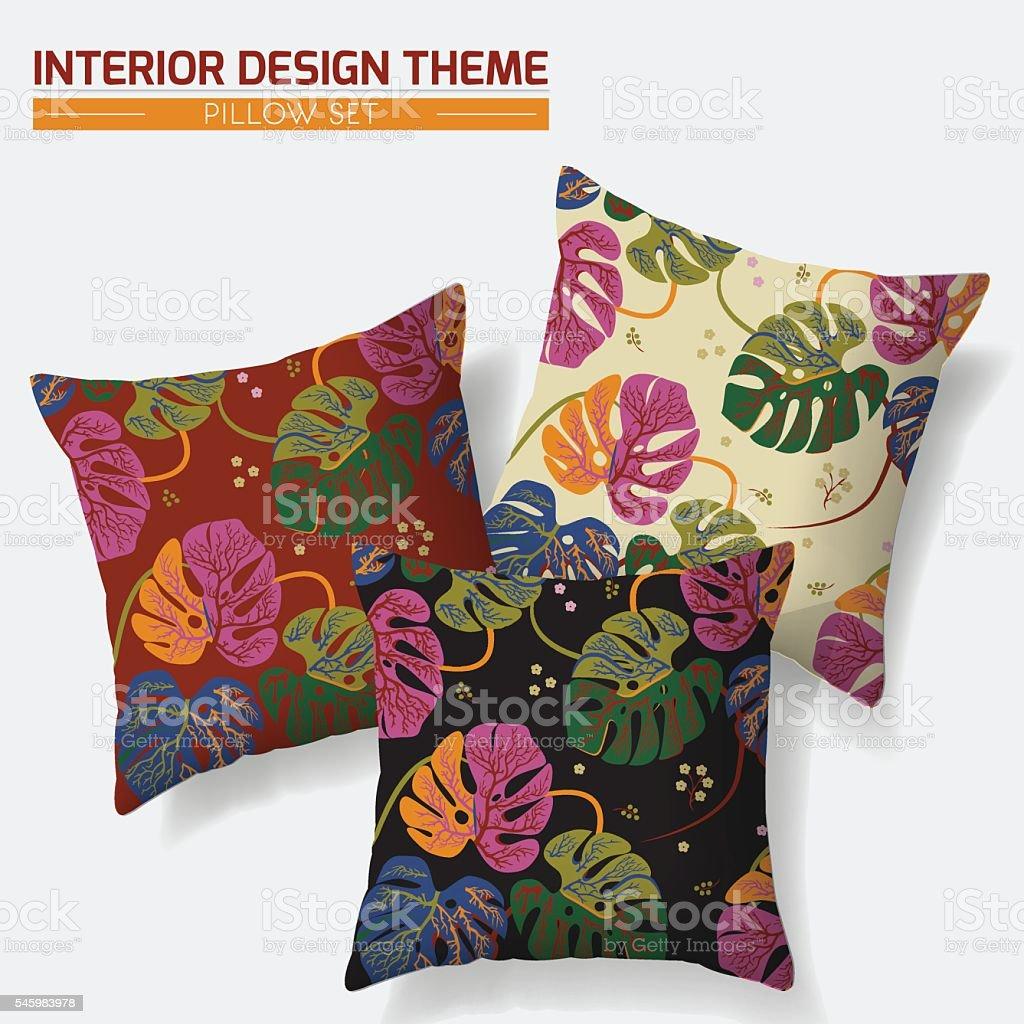 Decorative Tropical Leaves throw pillow set vector art illustration