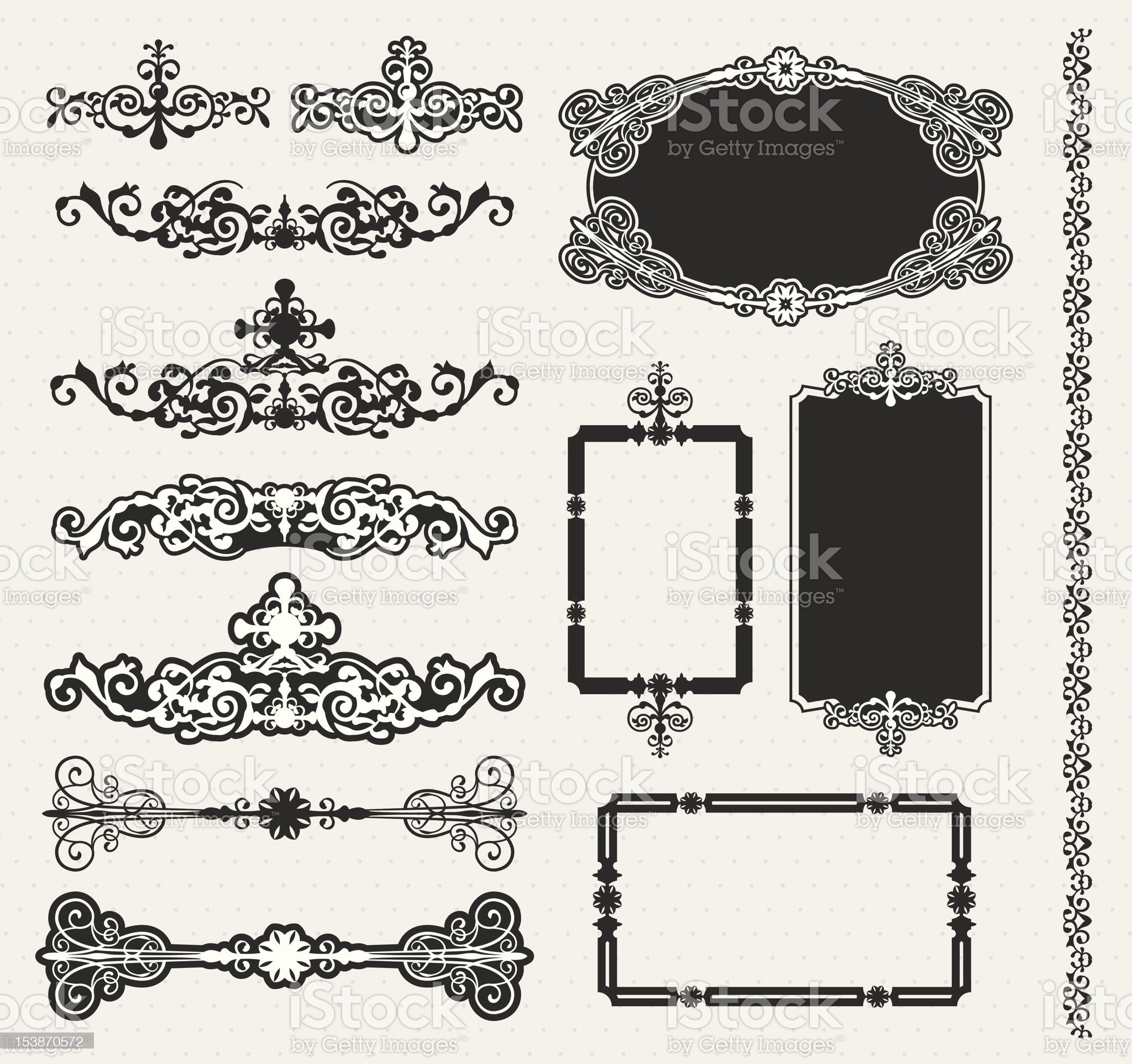 Decorative vector scroll and floral frame set royalty-free stock vector art