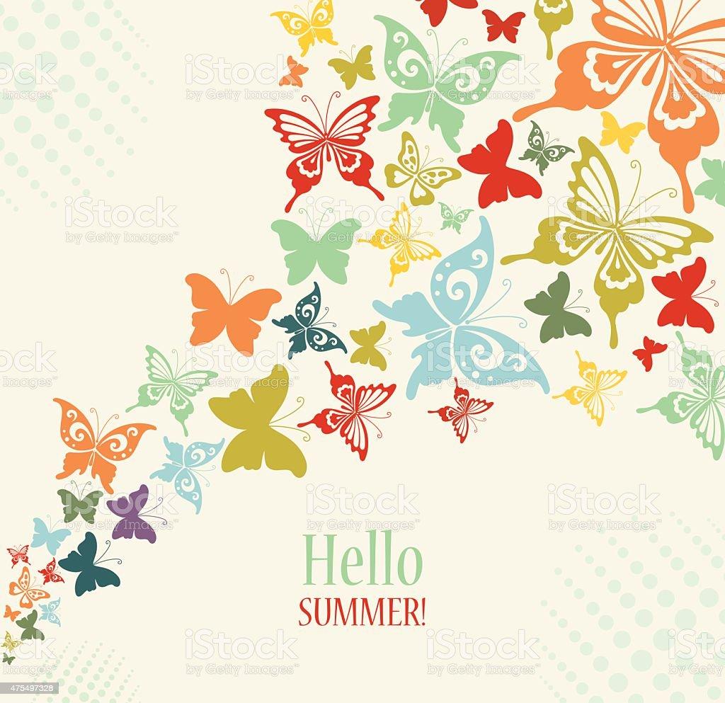 Decorative Vintage Background with Butterflies. vector art illustration