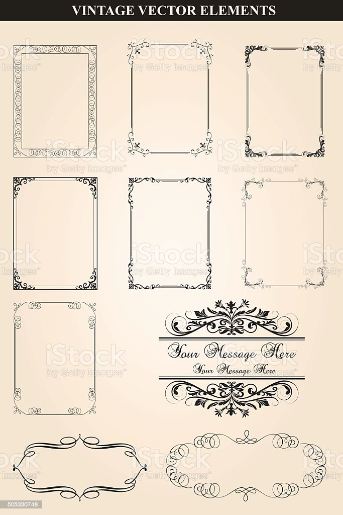 Decorative vintage frames and borders set vector vector art illustration