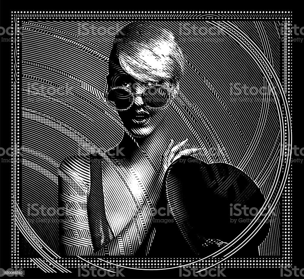 Decorative Vintage illustration of an elegant woman vector art illustration