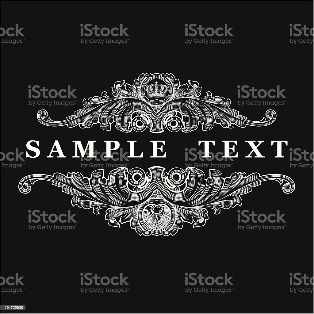 Decorative vintage ornate banner surrounding sample text royalty-free stock vector art