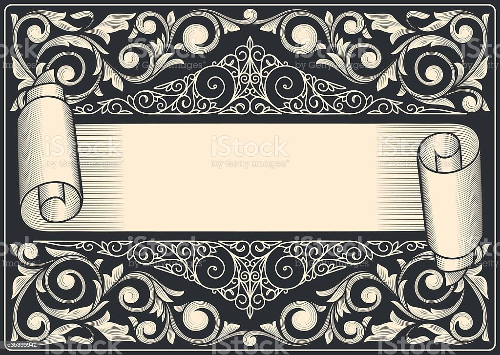 Decorative vintage scroll vector art illustration