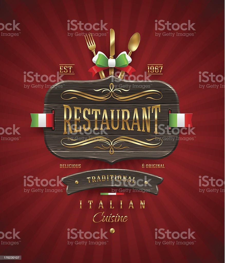 decorativo vintage cartel de madera para restaurante italiano con decoracin de oro libre de derechos