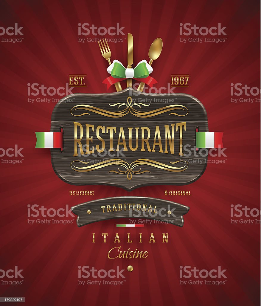 Decorative vintage wooden sign for Italian restaurant with golden decor vector art illustration