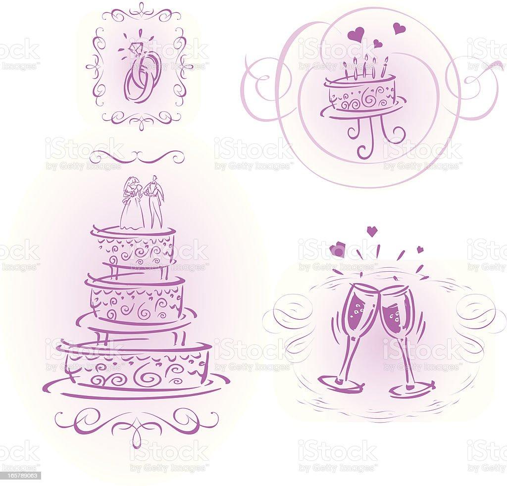 decorative wedding cakes royalty-free stock vector art