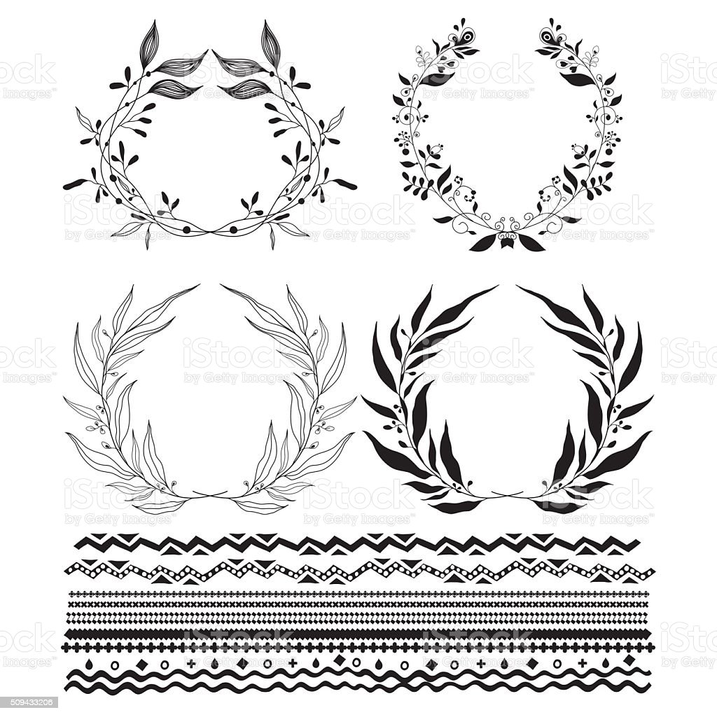 Decorative wreaths and stylized stripes underscore vector art illustration