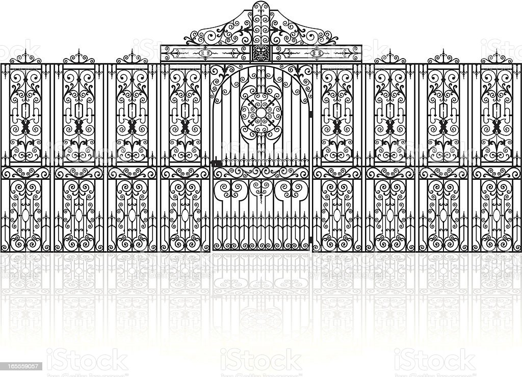 Wrought-iron fence with gate vector art illustration
