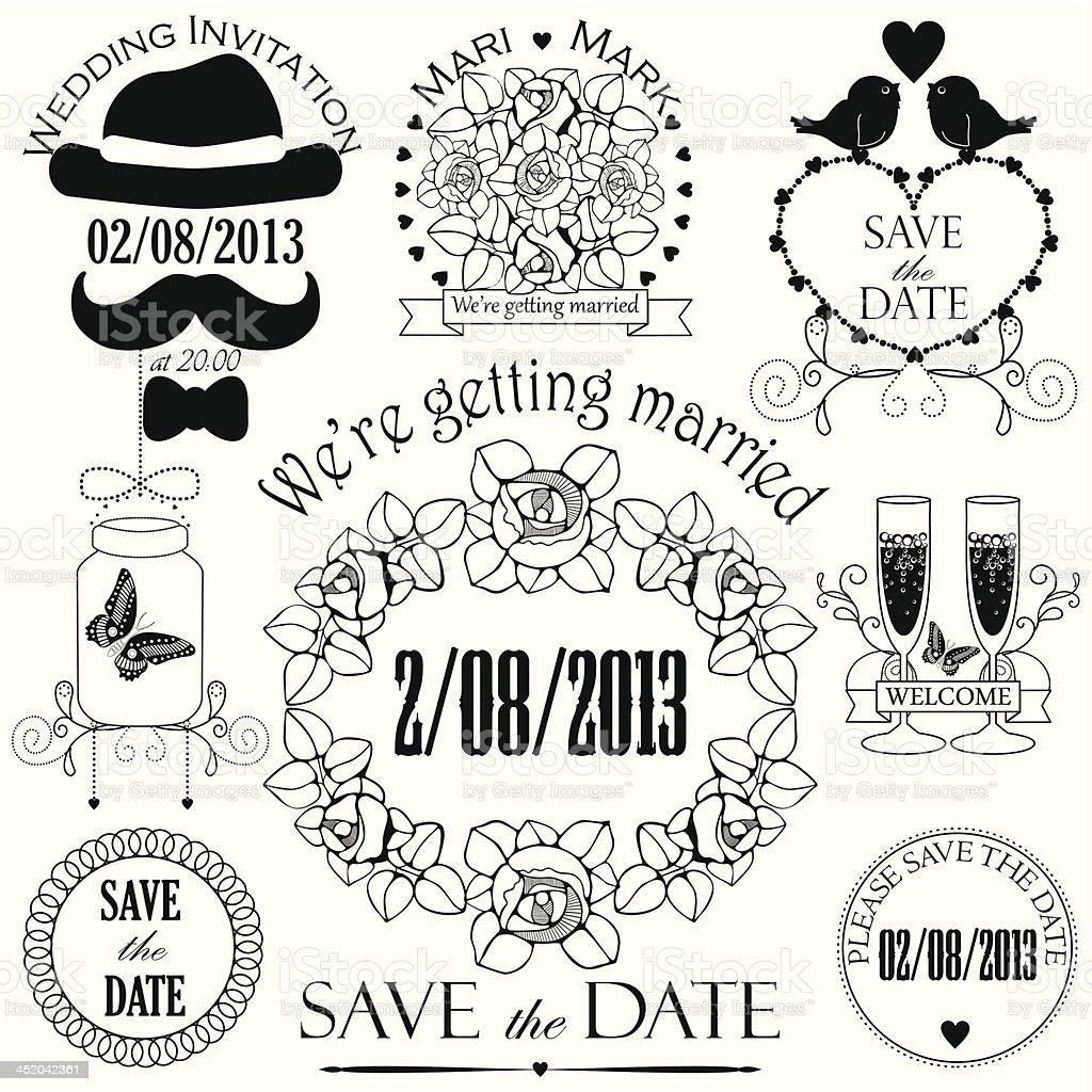Decotative set of artistic wedding elements royalty-free stock vector art