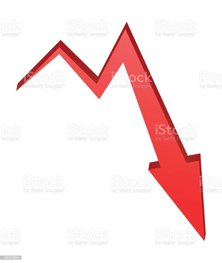 decrease Arrow symbol, red icon business concept. vector art illustration