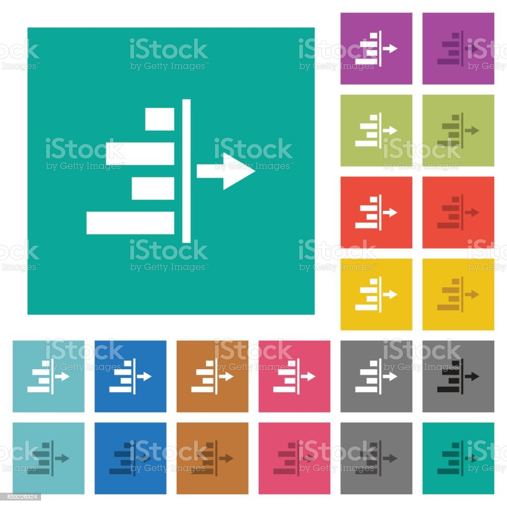 Decrease right indentation of content square flat multi colored icons vector art illustration