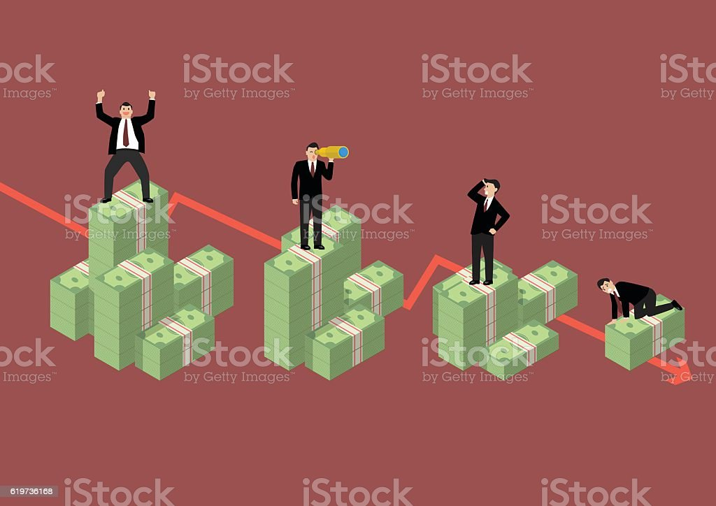 Decreasing cash money with businessmen in various activity vector art illustration