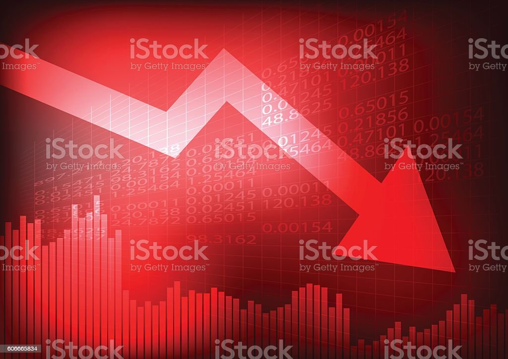 Decreasing graph and arrow on red stock board vector art illustration