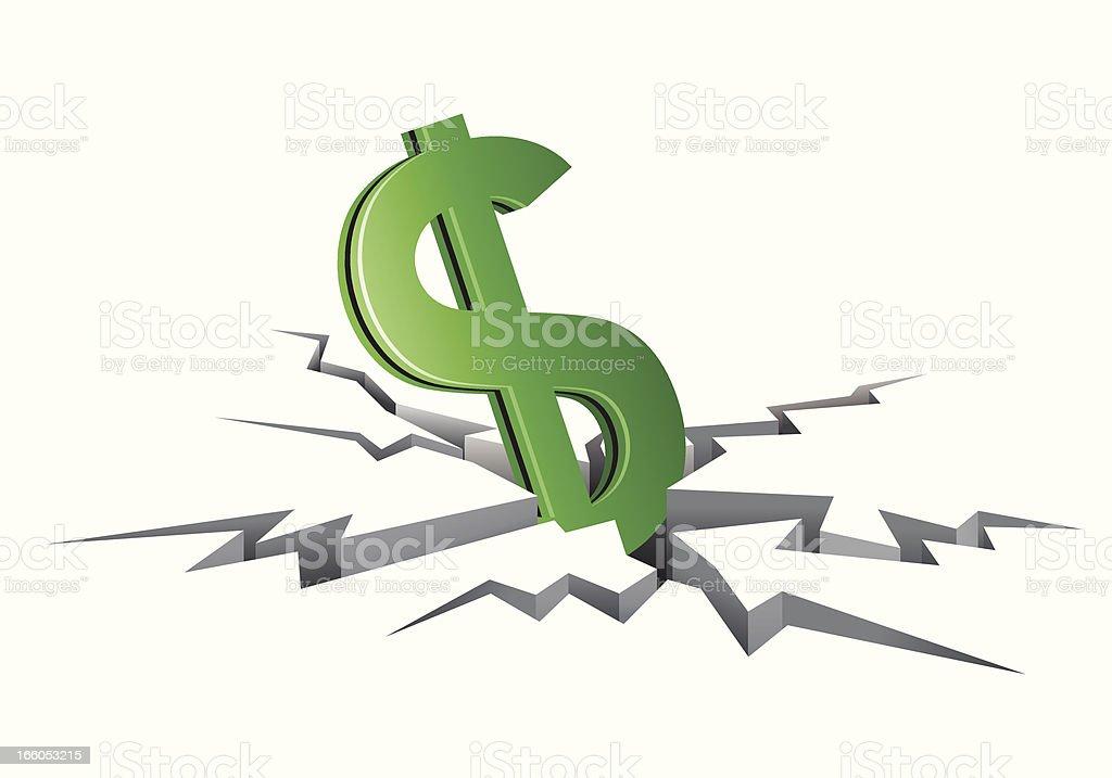 Decreasing value of Dollar royalty-free stock vector art
