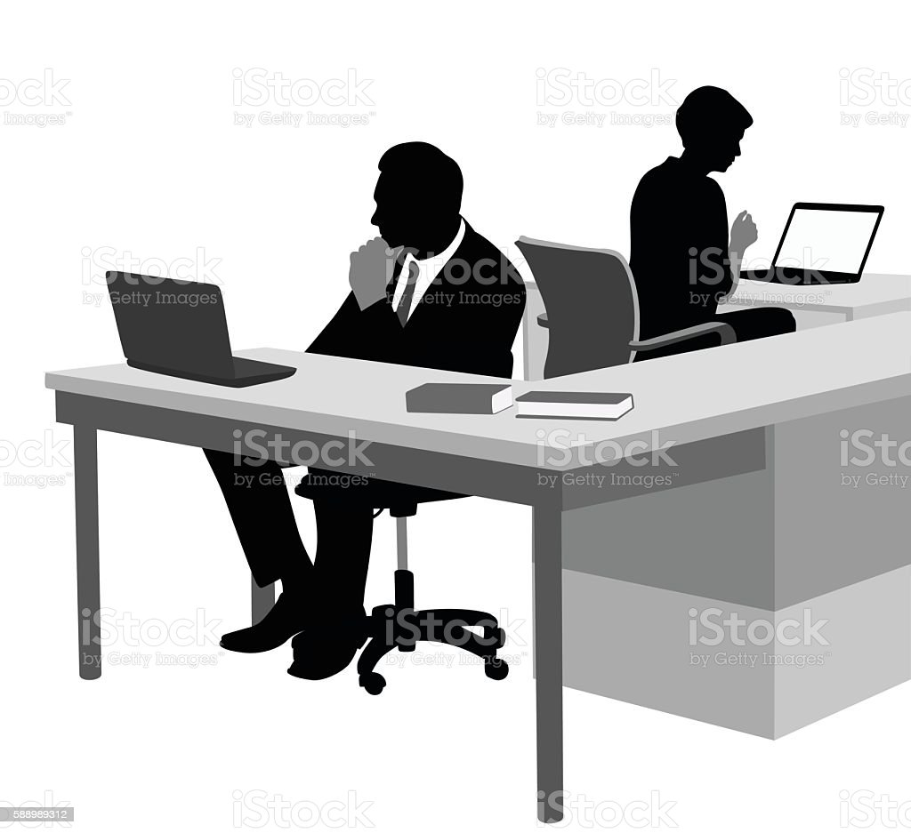Dedicated Office Workers vector art illustration