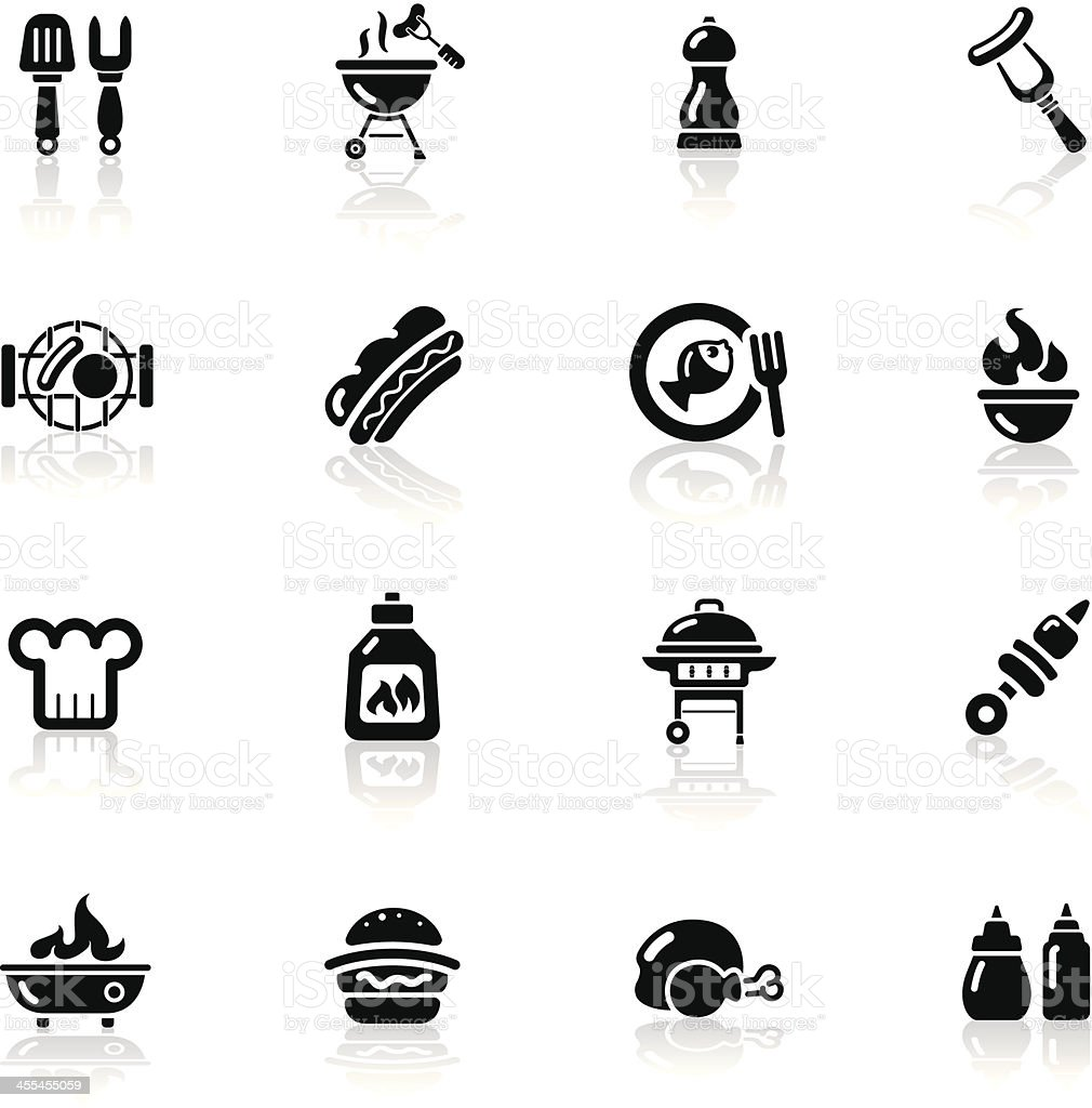 Deep Black Series | BBQ icons vector art illustration