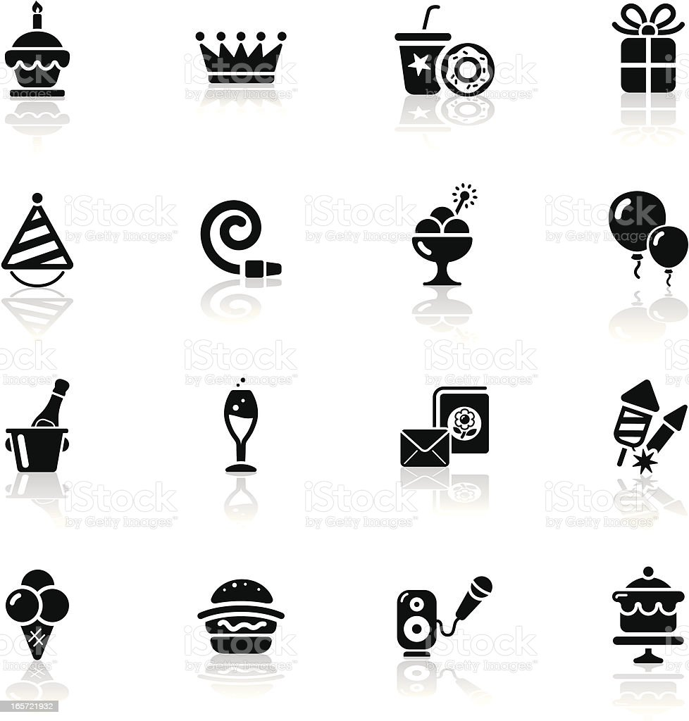 Deep Black Series | birthday icons royalty-free stock vector art