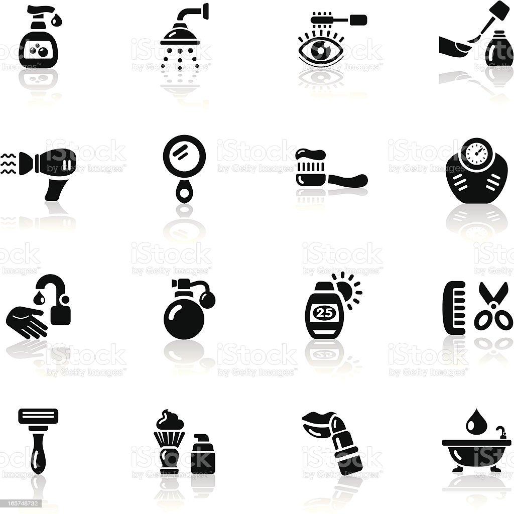 Deep Black Series | body care icons vector art illustration