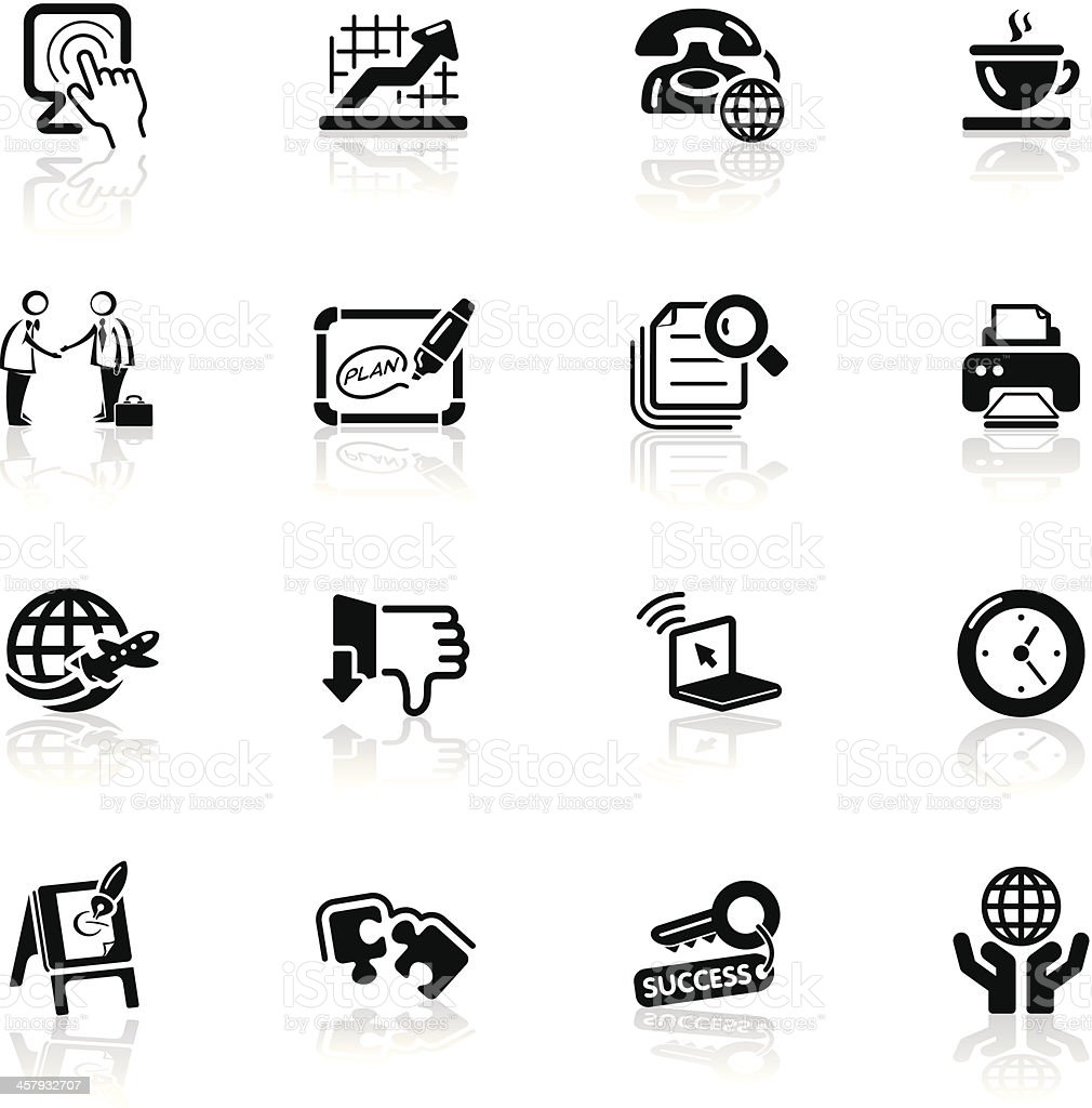 Deep Black Series | business and office icons royalty-free stock vector art