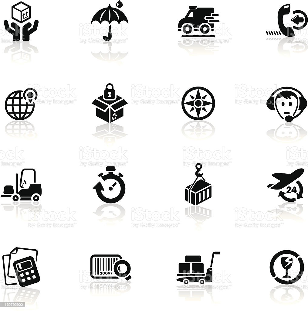 Deep Black Series | business strategy icons royalty-free stock vector art