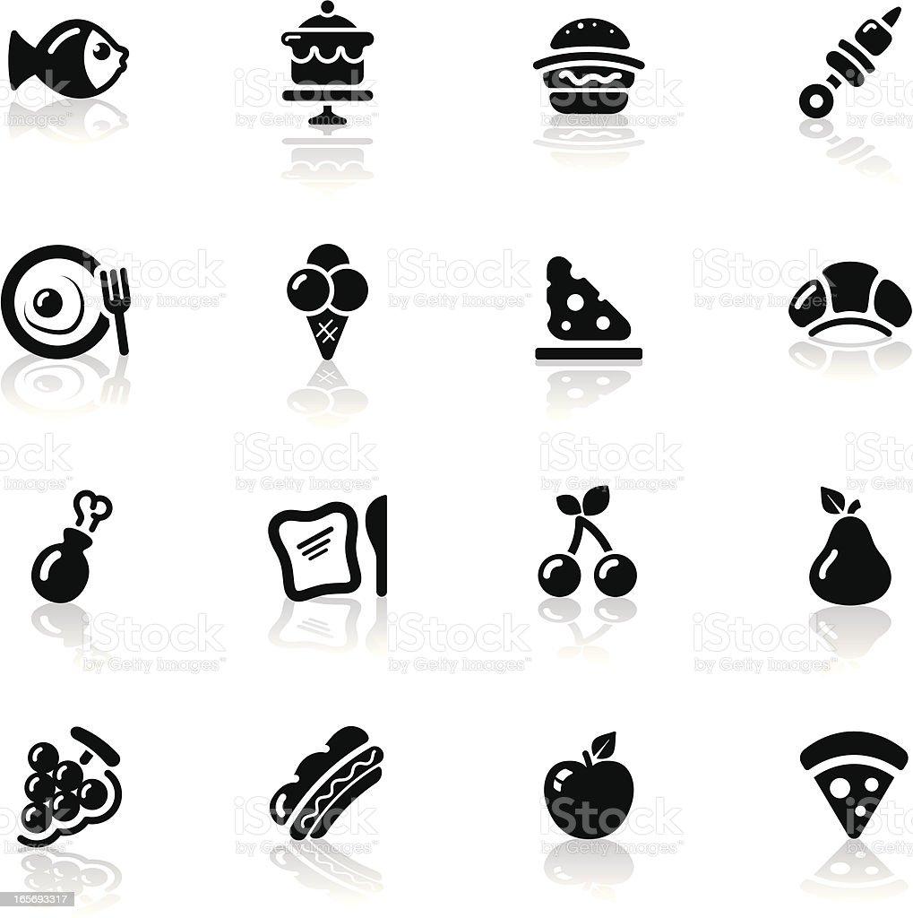 Deep Black Series | food icons vector art illustration