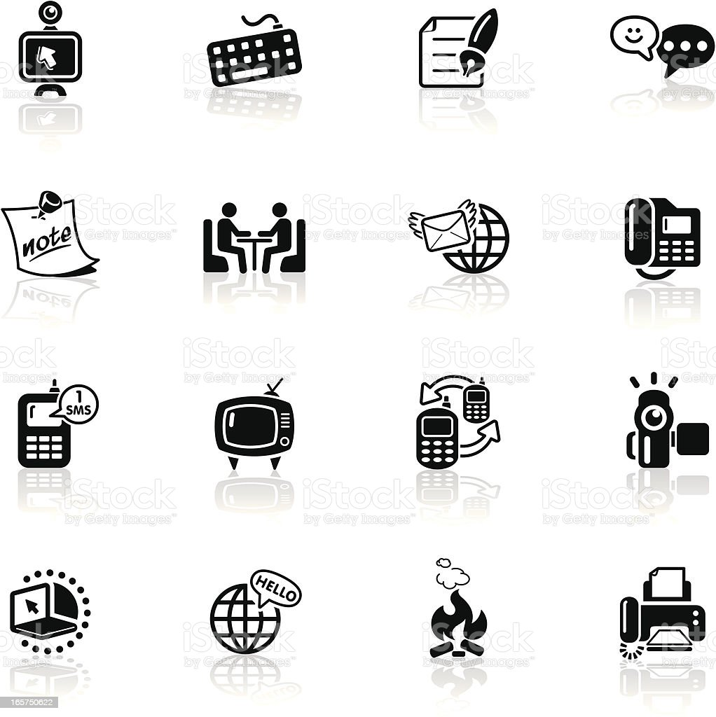 Deep Black Series | global communication icons vector art illustration