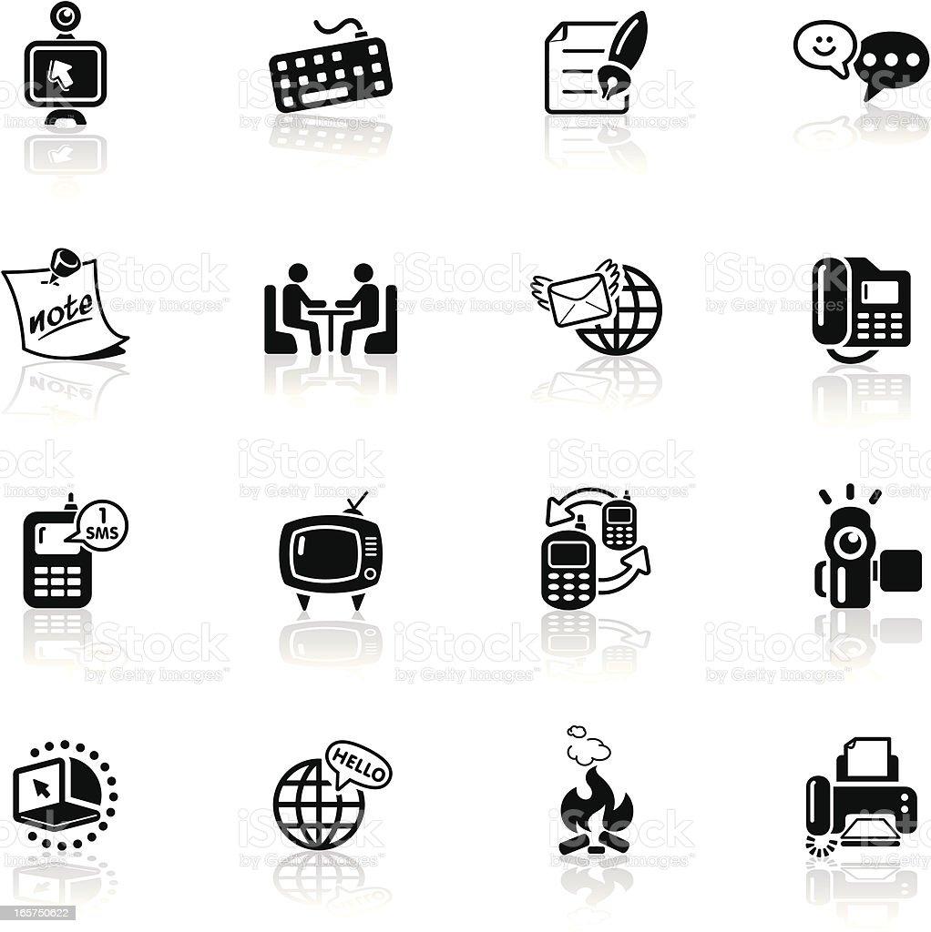 Deep Black Series   global communication icons vector art illustration