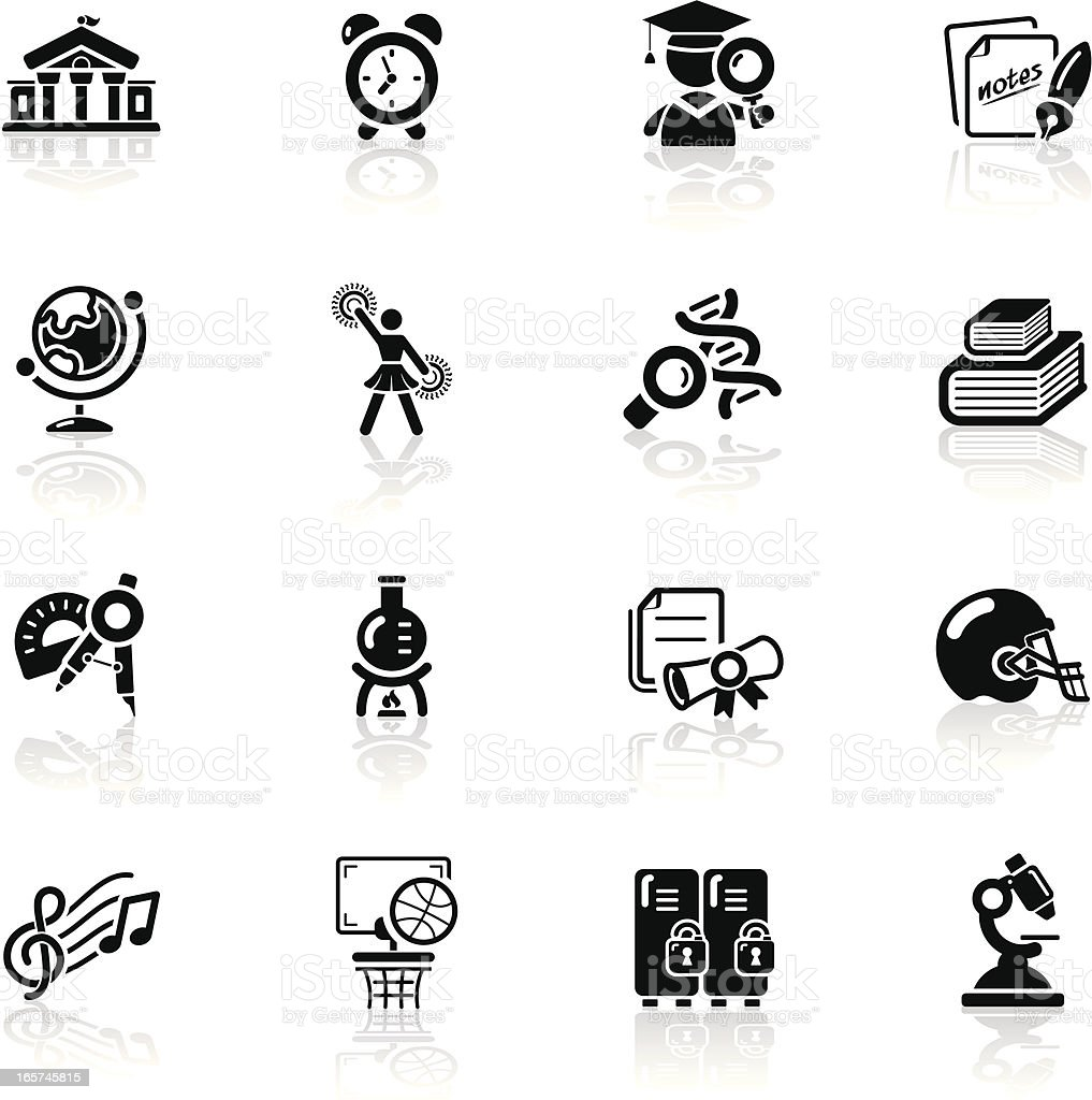 Deep Black Series | higher education icons royalty-free stock vector art