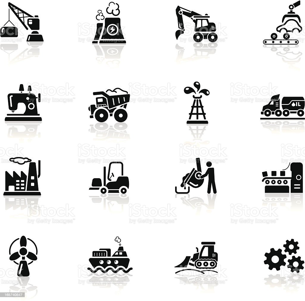 Deep Black Series | industry icons royalty-free stock vector art