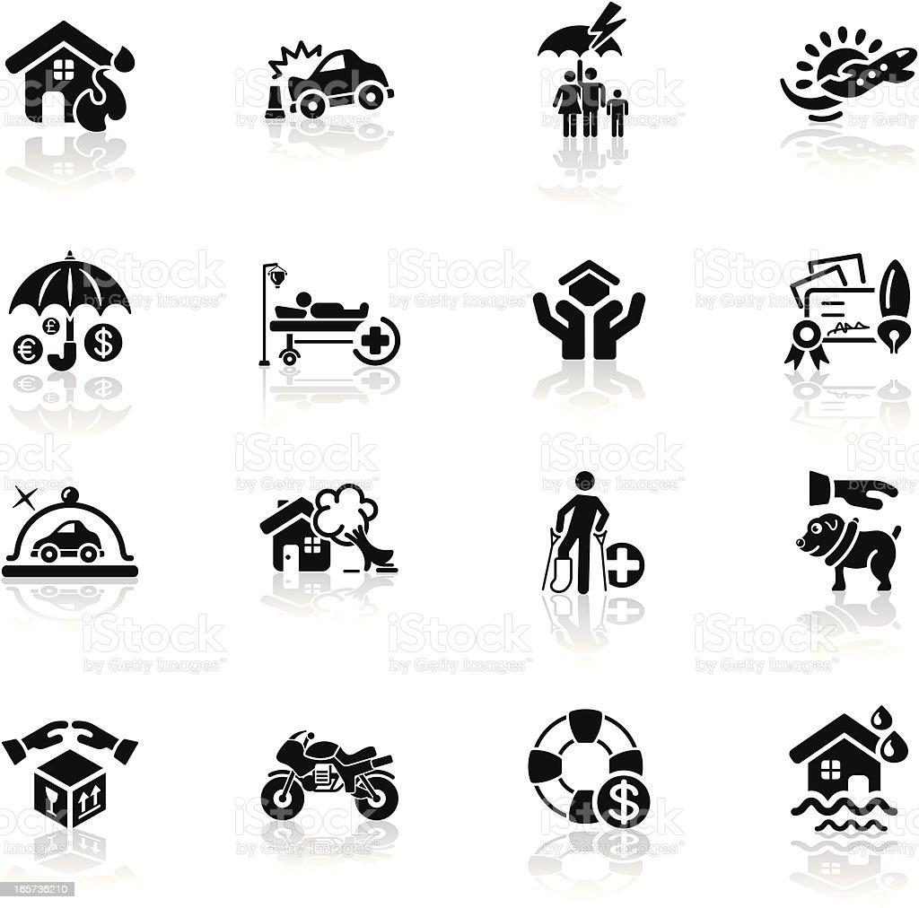 Deep Black Series | insurance icons vector art illustration