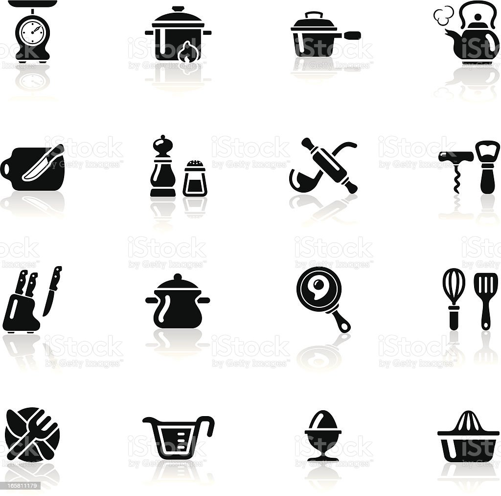 Deep Black Series | kitchen utensil icons vector art illustration