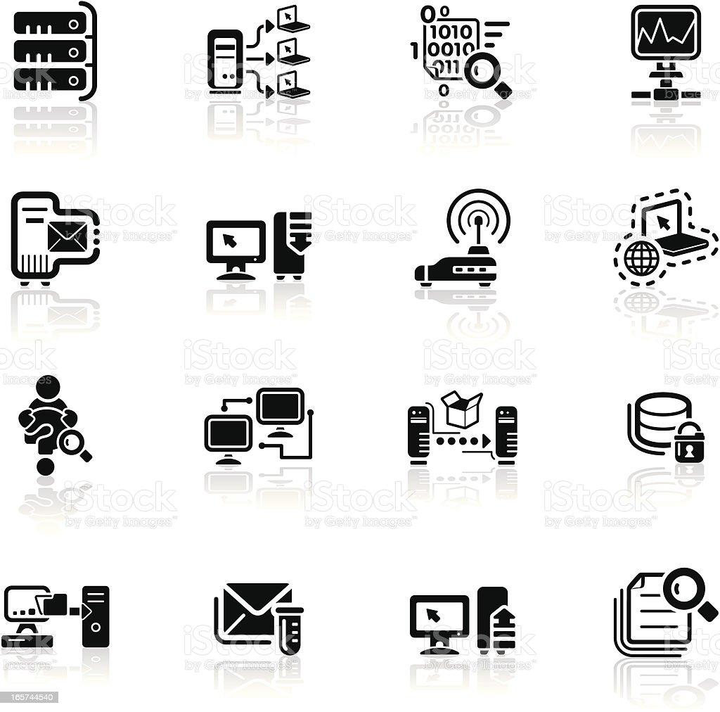 Deep Black Series | network icons vector art illustration